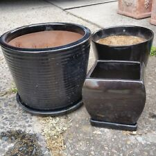 3 Assorted Black Glazed Ceramic Plant Pots
