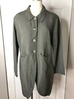Amy Rigg Womens M Olive Linen Blend Button Front Light Weight Blazer Jacket EE