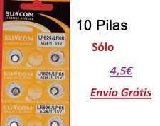 AG4 377A LR66 Pilas alcalinas botón 10 und. Alkaline Button Cell Battery Suncom