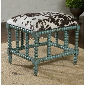 NEW French Modern Farmhouse Animal Cowhide Bench Turquoise Foot Stool HORCHOW
