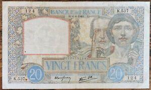 Billet 20 francs SCIENCES ET TRAVAIL 6 - 6 - 1940 FRANCE K.537