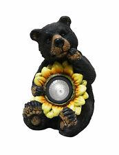 "10"" Black Bear with Solar Sunflower Outdoor Garden Patio Statue Alpine gxt520slr"