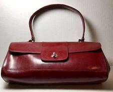Monsac Original Red Patten Leather Handbag Baguette Style