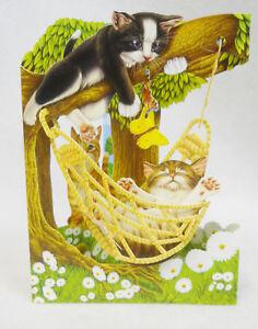 HAMMOCK KITTY CATS Greeting Card 3-D  Swing Card by Santoro Graphics 83