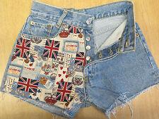 "DESIGNER VINTAGE HIGH WAIST LEVI 501 BLUE DENIM SHORTS UK 6 W27""  British Flag"