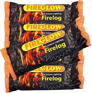 Fireglow Instant Lighting Firelog Chimney Fuel Burns 90 Minutes Fire Logs Flame