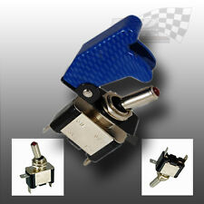 AIRCRAFT STYLE BLUE FLIP COVER TOGGLE SWITCH 12v RACING SWITCH
