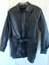 Men's Serge Platini Milan Italy Black Leather Insulated Coat Sz L