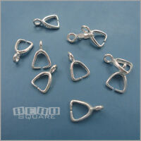 10PC Solid Sterling Silver Pendant Earring Pinch Bail Clasp Connector #33407