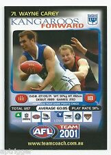 2001 Teamcoach Promotion Card (71) Wayne CAREY North Melbourne
