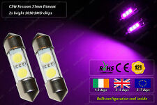 2x LED 31mm C5W Festoon 12000k HID Xenon Purple Interior License Plate Bulbs 12v