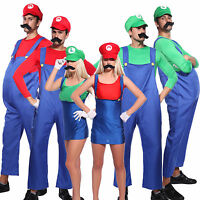 Mens Womens Super Mario Luigi Bros Cosplay Costume Couples Plumber Fancy Dress