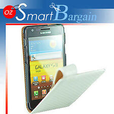 HQ WHITE Flip Leather Case Cover For Samsung Galaxy S2 i9100 + SP