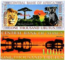 Central BANK of AFRICA 1000 UBUTUS 2014 POLYMER LION / ZEBRE FANTAISIE NEUF