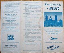 Cubana de Aviacion 1940s Travel Brochure: Trips to Mexico from Havana, Cuba