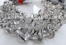 "4"" black TOURMALINATED QUARTZ smooth gem stone heart briolette beads 6mm - 11mm"