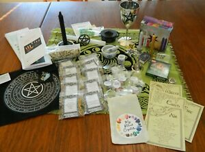New IMPROVED Wicca Starter Kit 89 Items Herbs Crystals Altar Cloth Chalice +++