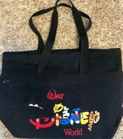 Walt Disney World Black canvas tote bag Mickey Mouse Pooh Tigger Donald Duck