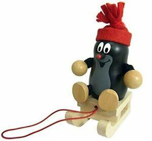 Der kleine Maulwurf mit Schlitten,Holzfigur,Detoa,Deko.Geschenkidee,Weihnachten