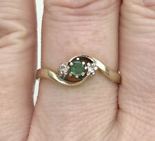 Vintage 9ct Gold Emerald & Diamond Trilogy Ring, Size P