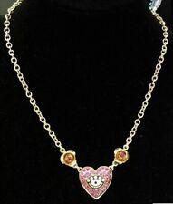 Betsey Johnson Necklace Heart Evil Eye Pendant Rhinestone Gold Pink Multi