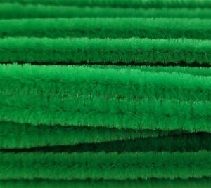 """Lot of 100 Green 12"""" Long x 1/4"""" 6mm Wired Pipe Cleaners Craft Chenille Stems"""