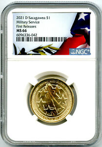 2021 D $1 SACAGAWEA NGC MS66 MILITARY SERVICE DOLLAR FIRST RELEASES