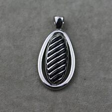 lia sophia signed jewelry polished silver tone pendant black enamel texture