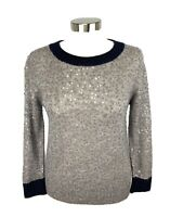 J CREW Pullover Sweater Womens Size S Gray Wool Blend Scattered Sequin Detail