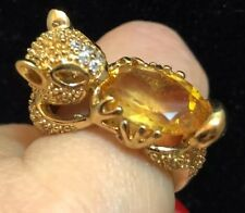14k Gold Over Sterling Silver Squirrel holding nut Citrine Ring Size 10