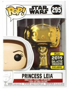 Funko Pop! Star Wars #295 Princess Leia Gold Chrome Galactic Con Exclusive NEW