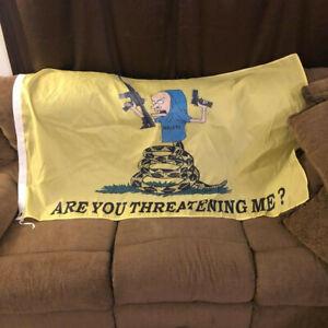 5ft Beavis Don't Tread on Me Flag Merica Funny Are you Threatening Me? Gun Rifle