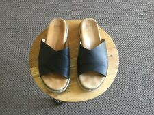 Ziera Toni black cross over leather slides Size 38W EUC!