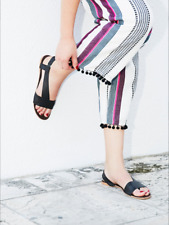 $68 Free People Leather Under Wraps Boho Strappy Sandal in (BLACK) (37 M)
