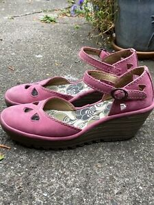 Fly London Yuna Pink Suede Wedge Shoes 7 / 40