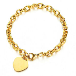 Stainless Steel gold bracelet with heart charm tag in the front fashion BB272