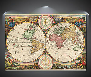Ye Old World Map Large Poster - A0, A1, A2, A3, A4 sizes