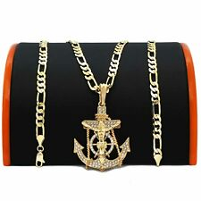 "Anchor Pendant Hip-Hop 5mm/24"" Figaro Chain Mens Hip Hop 14K Gold Plated Jesus"