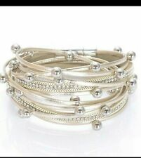 GOLD BRACELET FAUX LEATHER WRAP AROUND BRACELET BEADS SILVER