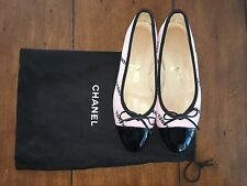 Chanel Black Patent Leather Cap Toe Ballet Flat Shoes Guaranteed Authentic
