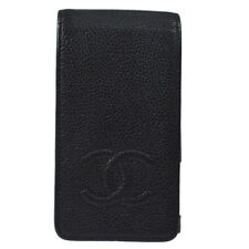Auth CHANEL Vintage CC Logos iPhone 4/4s Case Black Caviar Skin Italy V24066