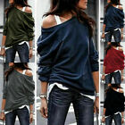Women Long Sleeve Cold Shoulder Solid Tunic T-Shirt Blouse Casual Loose Lot Tops
