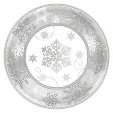 8X Navidad Copos de Nieve Plateados Platos Papel 17cm Bufé Vajilla Postre