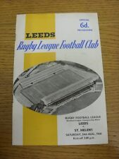 24/08/1968 programma Rugby League: Leeds V St. Helens (Team delle modifiche, luce MARKI