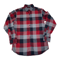 Eddie Bauer Classic Fit Button Up Flannel Shirt Long Sleeve Red Plaid Mens Small
