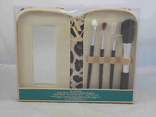Adrienne Vittadini Studio Make Up 4 Brush Set Kit With Zip Around Mirrored Case