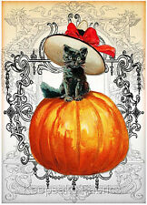 Black Cat Halloween Wishes Quilt Block FrEE ShiP WoRld WiDE (H4 c