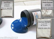 Photoresist Blue Paint + Developer + Etchant + Resist Remover for DIY PCB Kit
