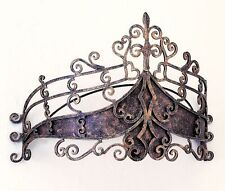 Antique Burnished Gold Bed Crown Iron Tole Tester Drape Canopy,26''w x 17''H.