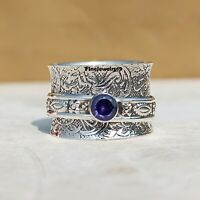 Amethyst 925 Sterling Silver Spinner Ring Meditation Statement Jewelry A141